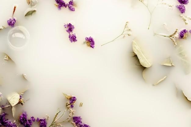 Vista superior flores roxas na água branca