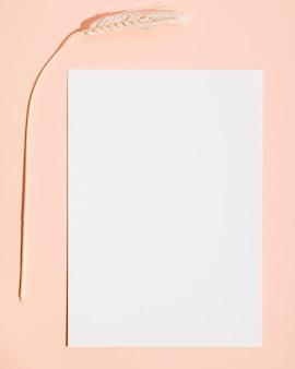 Vista superior folha de papel na mesa