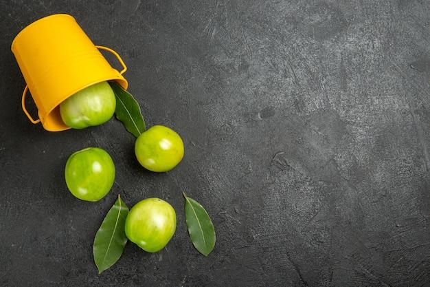 Vista superior, folhas de louro, tomates verdes, balde amarelo virado à esquerda da superfície escura