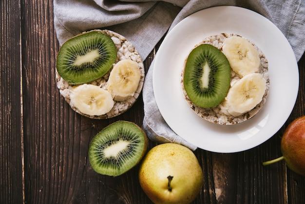 Vista superior, fruta deliciosa, café manhã