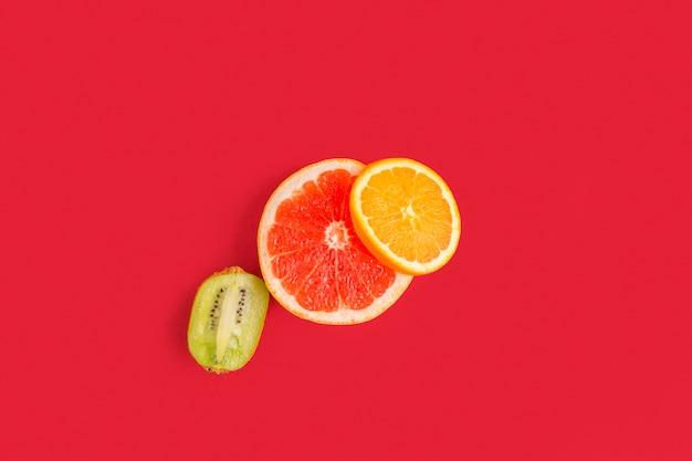 Vista superior frutas cítricas