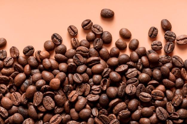 Vista superior grãos de café orgânicos