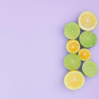 Vista superior grupo de limão