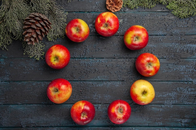 Vista superior maçãs entre galhos nove maçãs dispostas em um círculo entre galhos de árvores com cones