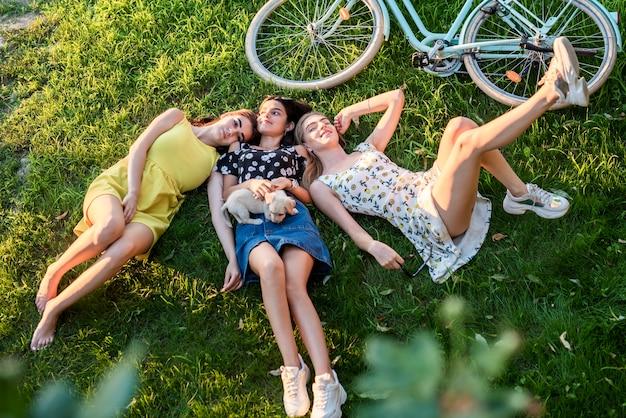 Vista superior meninas relaxantes com cachorro fofo
