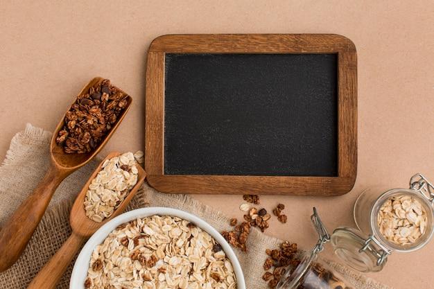 Vista superior mistura de cereais com espaço de cópia