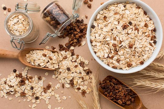 Vista superior mistura de cereais