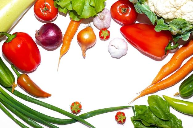 Vista superior moldura de variedade vegetal