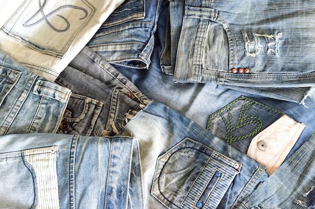 Vista superior montão de textura jeans azul