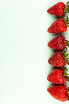 Vista superior morangos vermelhos frescos suculentos maduros alinhados no fundo branco