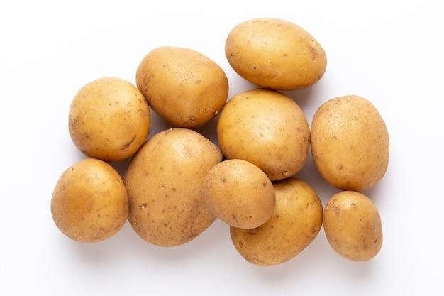 Vista superior na pilha de batatas