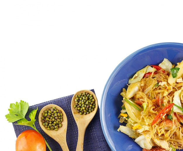 Vista superior - noodles de vidro frito stri