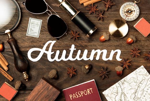 Vista superior outono conceito de viagens
