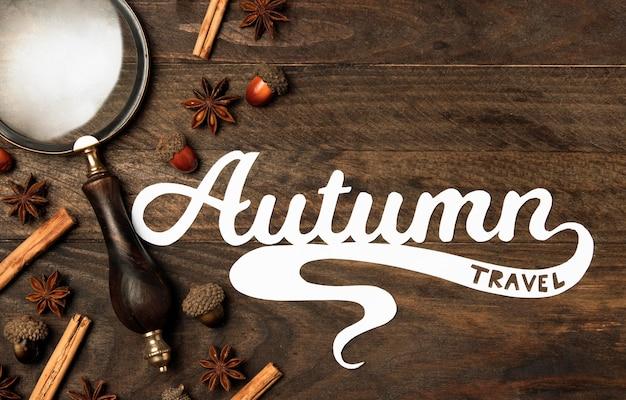Vista superior outono viagens conceito letras