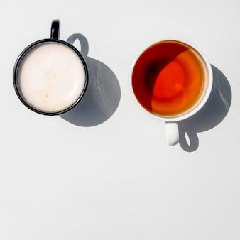 Vista superior par de xícaras de café