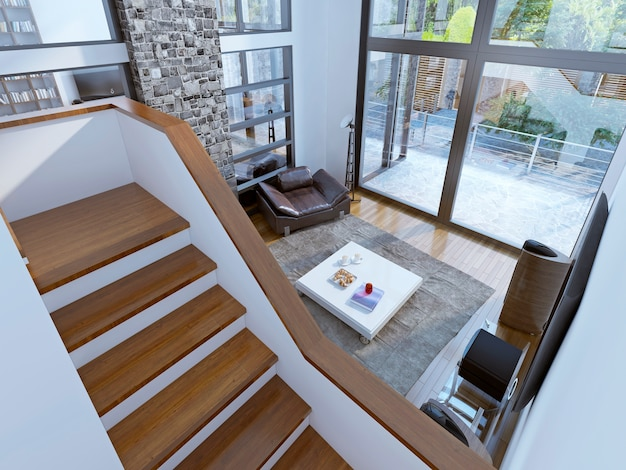 Vista superior para a sala de estar contemporânea.