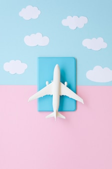 Vista superior passaporte com avião