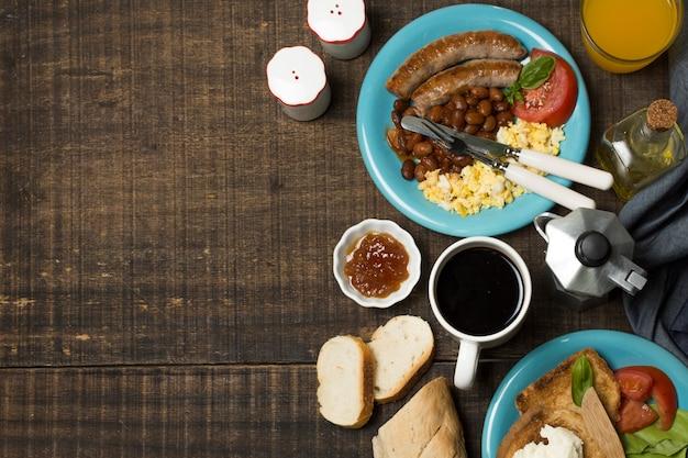 Vista superior, pequeno almoço inglês