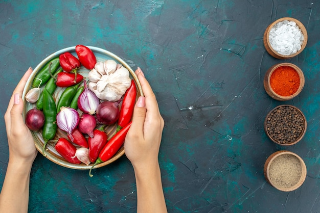 Vista superior pimentão vermelho com cebola e alho junto com temperos no fundo escuro refeição alimentar ingrediente salada de vegetais