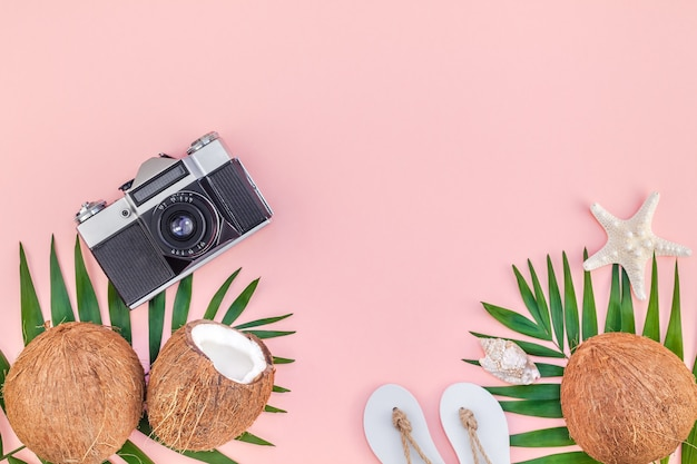 Vista superior plana leiga criativa da palmeira tropical verde deixa frutos de coco e câmera fotográfica antiga no fundo de papel rosa com espaço de cópia. modelo de conceito de viagens de verão para plantas de folha de palmeira tropical mínima