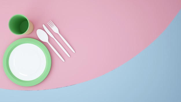 Vista superior prato comida fundo gráfico-obra espaço vazio