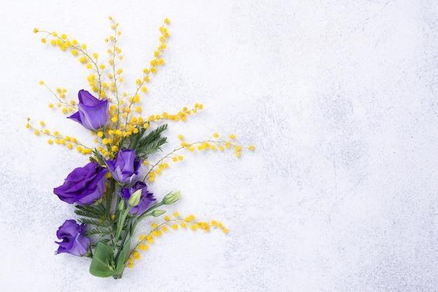 Vista superior primavera flores