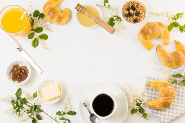 Vista superior saboroso café da manhã
