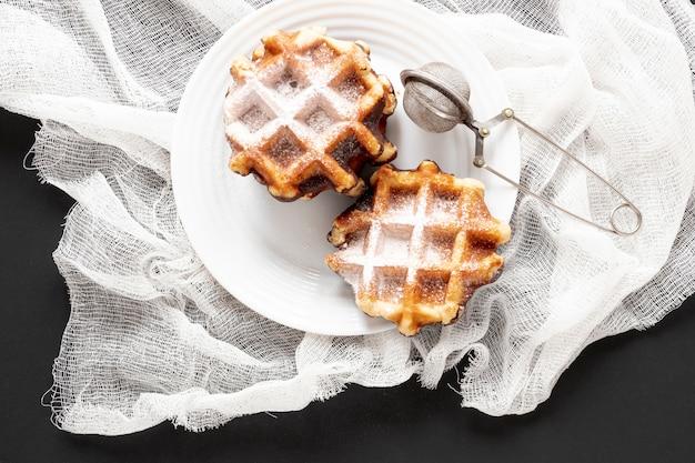 Vista superior saborosos waffles caseiros