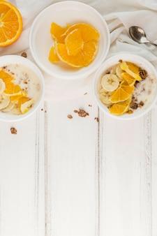 Vista superior saudável café da manhã com espaço de cópia