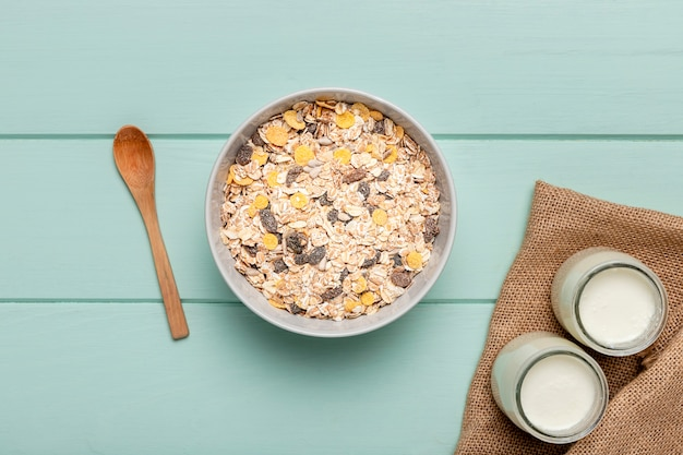 Vista superior saudável café da manhã na mesa