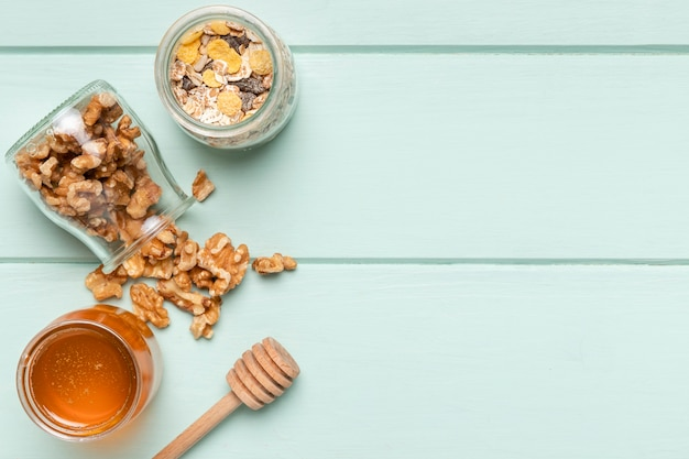 Vista superior saudável pequeno-almoço ingredientes