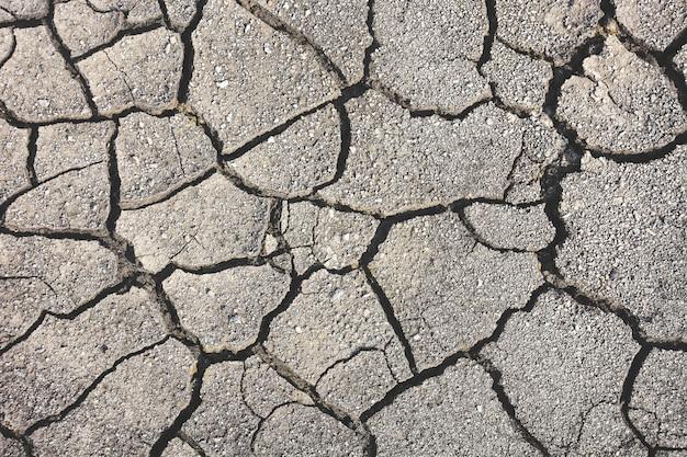 Vista superior seca textura de terra rachada para plano de fundo