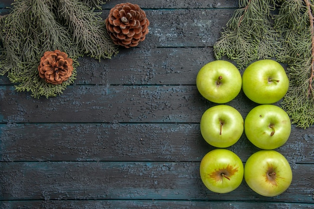 Vista superior seis maçãs seis apetitosas maçãs verdes no lado direito da mesa cinza ao lado de galhos de árvores com cones