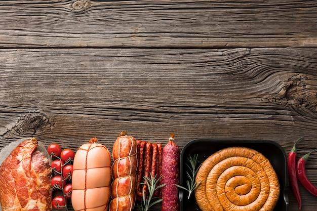 Vista superior seleção de carne de porco com espaço de cópia