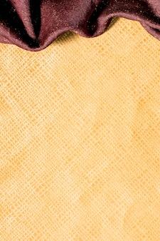 Vista superior suave superfície dourada