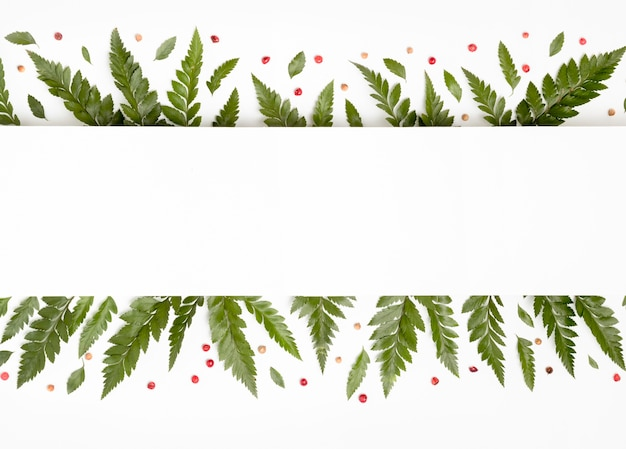 Vista superior tropical verde folhas com espaço de cópia
