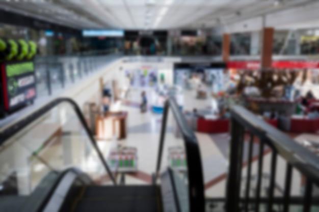 Vista superior turva shopping center