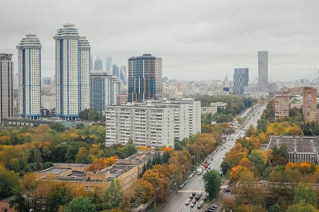 Vista superior urbana, vista da cidade.