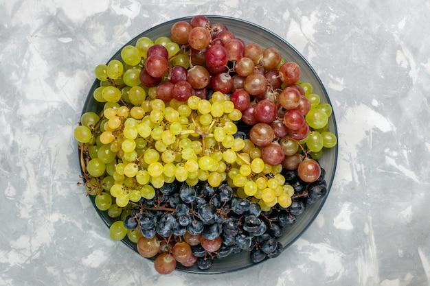 Vista superior uvas frescas frutas suculentas e maduras dentro do prato na superfície branca frutas suaves vinho fresco