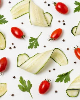 Vista superior variedade de deliciosos produtos maduros