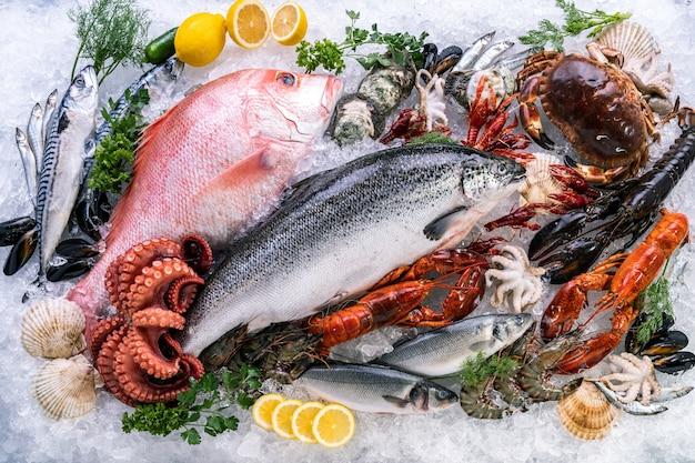 Vista superior variedade de frutos do mar frescos e luxuosos em fundo de gelo com fumaça gelada no mercado de frutos do mar