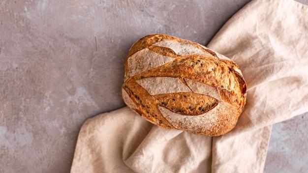 Vista superior variedade de pão saboroso
