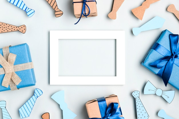 Vista superior variedade de presentes para o dia dos pais