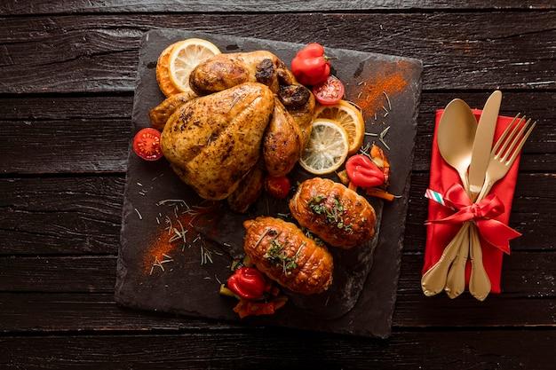 Vista superior variedade de refeição festiva de natal