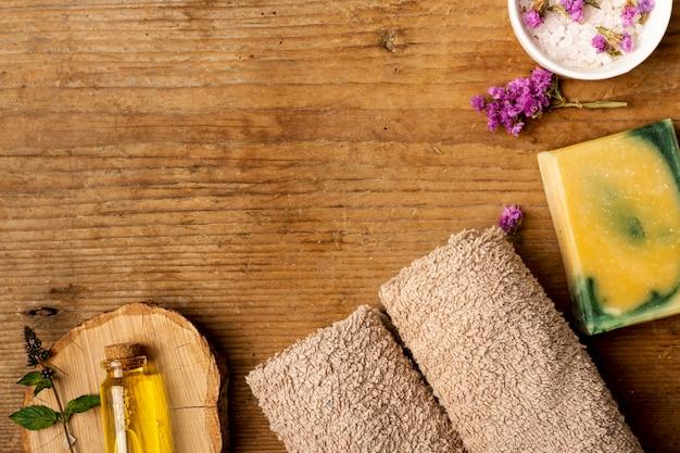 Vista superior variedade de spa terapêutico