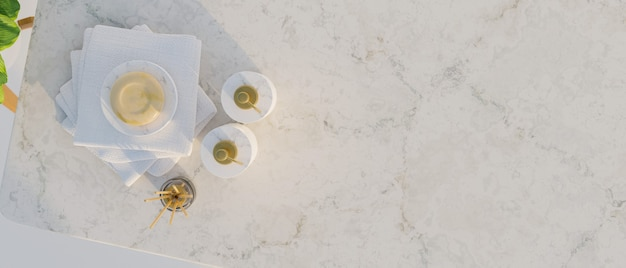 Vista superior, vista superior do balcão de mármore com frascos de shampoo de cerâmica, sabonete, difusores de aroma, toalhas e espaço vazio para produto de montagem, conceito de banheiro, renderização em 3d, ilustração em 3d