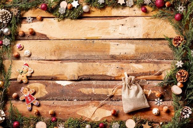 Vista superior vista temática de natal com bolsa