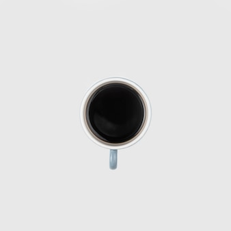 Vista superior xícara de café com fundo branco