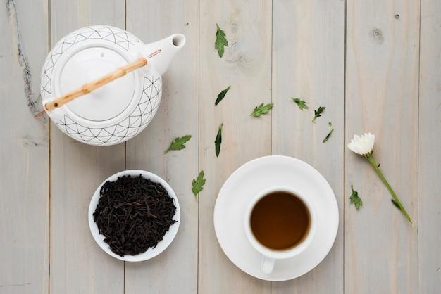 Vista superior xícara de chá com bule