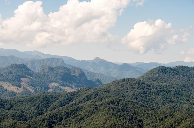 Vista tranquila da floresta tropical em uma cordilheira do ponto de vista do parque nacional, ao norte da tailândia.
